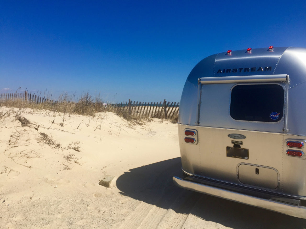 Airstream Delivery - Aolani the Airstream Flying Cloud on the Dunes of at Cape Henlopen State Park - Lewes, Delaware