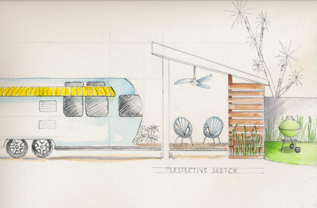 Preliminary Artist Rendering of Port Toaster and Individual Toaster Lodging with private Mid-Century Cabana.
