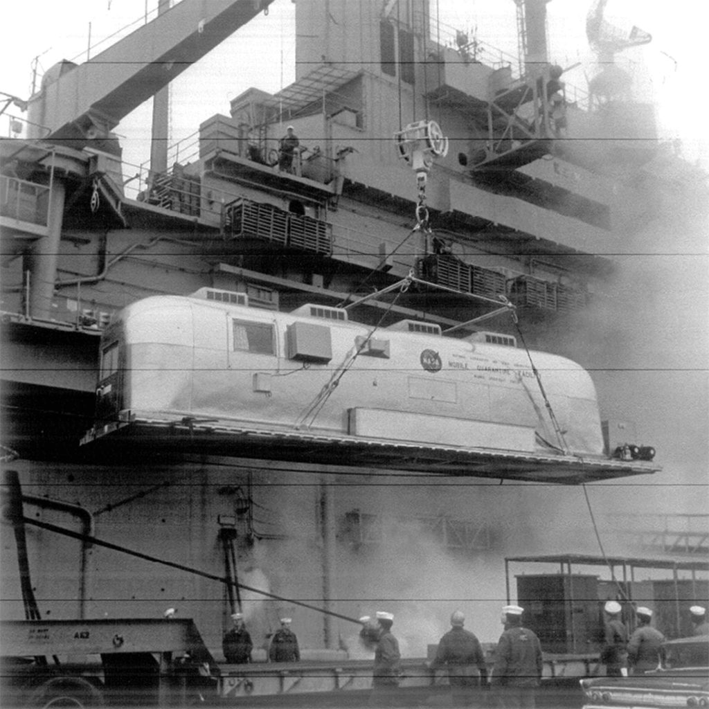 Apollo 11 Airstream Being Hoisted Aboard the USS Hornet
