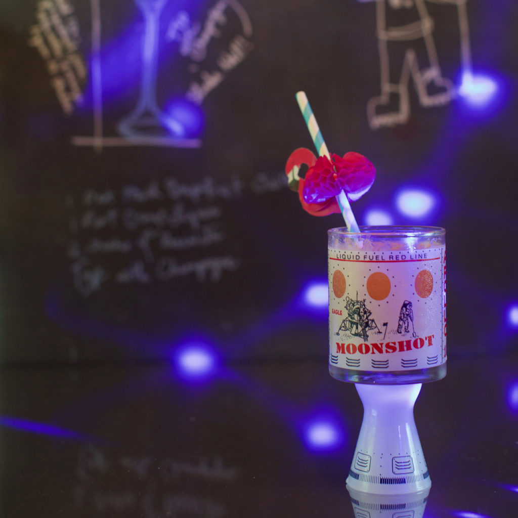 A Citrus Champagne Celebration in Honor of Apollo 11 Landing on the Moon. A Cocktail Born in England but full of Florida Space Coast Flamingo Flair! Recipe On ToasterAdrift.com.